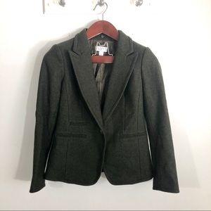 Loft Ann Taylor Olive Green Wool Blend Blazer 4 P